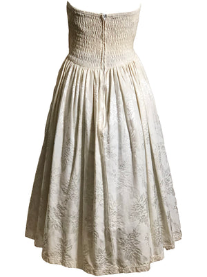 Betsey Johnson 80s Strapless Brocade Punk Label Cream Drop Waist Dress , back