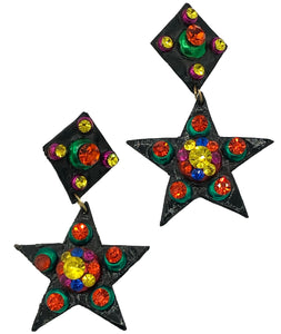 80s Girls Just Wanna Have Fun Earrings Black Rainbow Star  FRONT 1 od 2