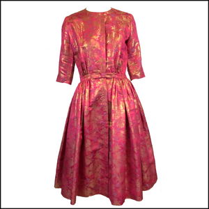 Larry Aldrich 60s Pink Metallic Brocade Cocktail Dress 1 of 6