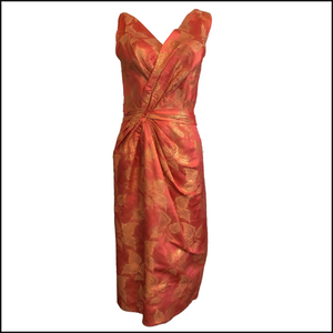 Ceil Chapman 50s Peach Silk Brocade Cocktail Sheath 1 of 5