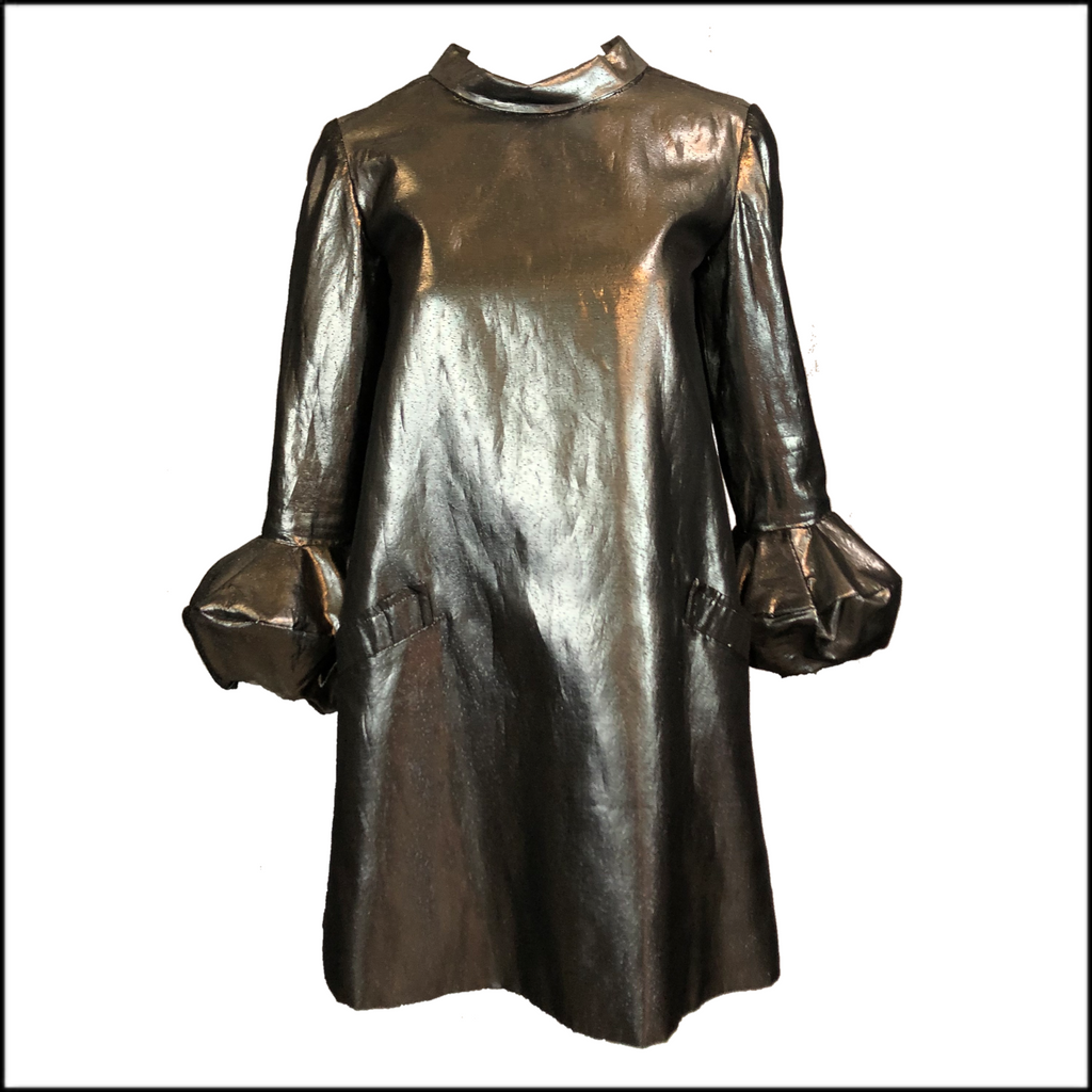 60s Terri Halpern Mod Chrome A Line Mini Dress FRONT 1 of 5