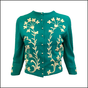 Helen Bond Carruthers 50s Green Cashmere Embroidered Cardigan FRONT 1 of 4