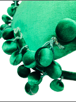 50s Green Velvet Cocktail Hat with Dangling Balls 4 of 6