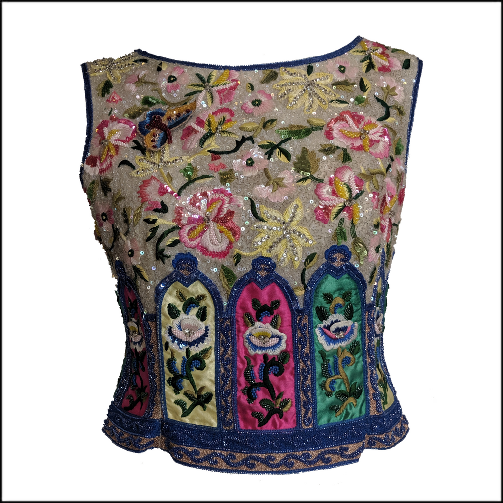 90s Valentino Intricately Beaded Chinoiserie  Shell Top