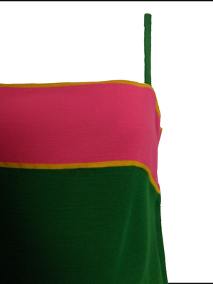 Paraphernalia 60s Kelly Green and Hot Pink Jersey Dress 4 of 6