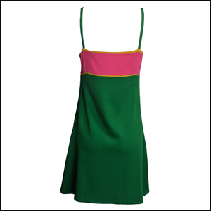 Paraphernalia 60s Kelly Green and Hot Pink Jersey Dress 3 of 6