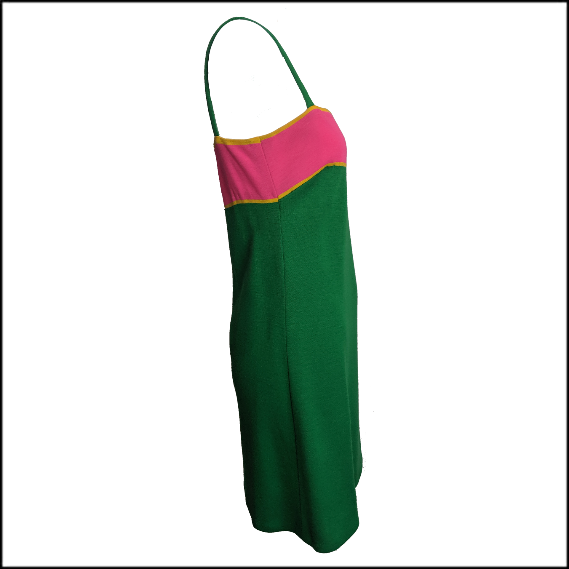 Paraphernalia 60s Kelly Green and Hot Pink Jersey Dress 2 of 6