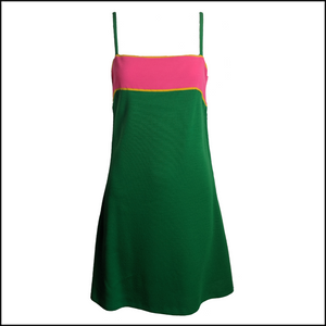 Paraphernalia 60s Kelly Green and Hot Pink Jersey Dress 1 of 6