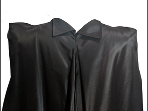 30s Black Satin Deco Evening Cape DETAIL 4 of 6