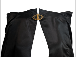 30s Black Satin Deco Evening Cape DETAIL 3 of 6