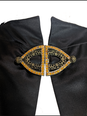 30s Black Satin Deco Evening Cape DETAIL 5 of 6