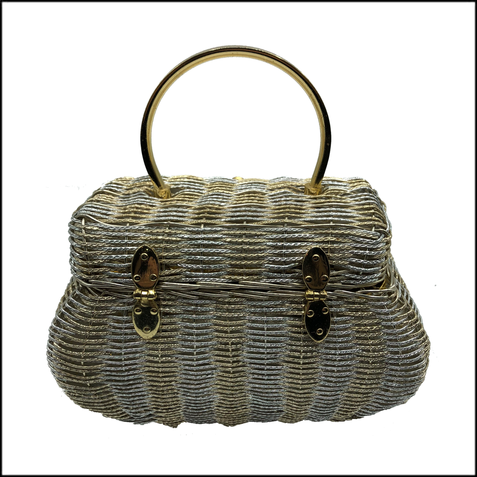 60s Silver and Gold Wire Basket Handbag BACK 2 of 4