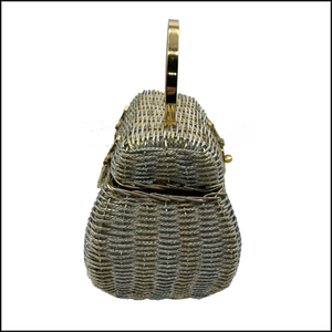60s Silver and Gold Wire Basket Handbag 3 of 4