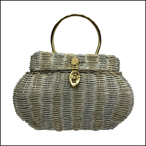 60s Silver and Gold Wire Basket Handbag FRONT 1 of4