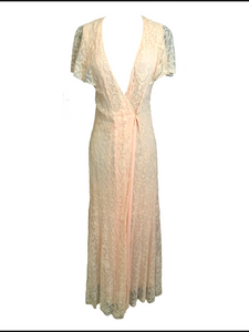 30s Peach Lace Dressing Gown 1 of 5