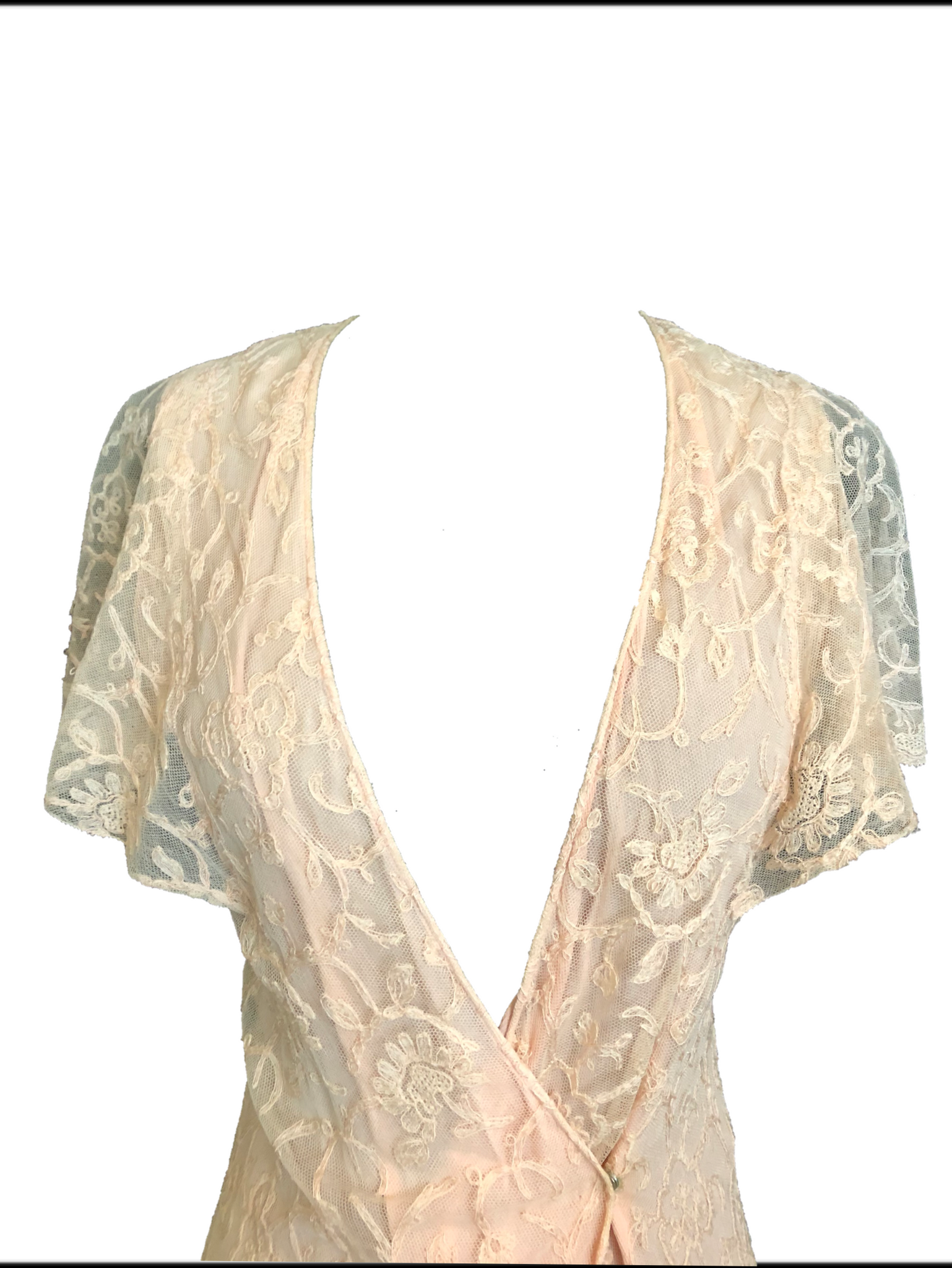 30s Peach Lace Dressing Gown 3 of 5