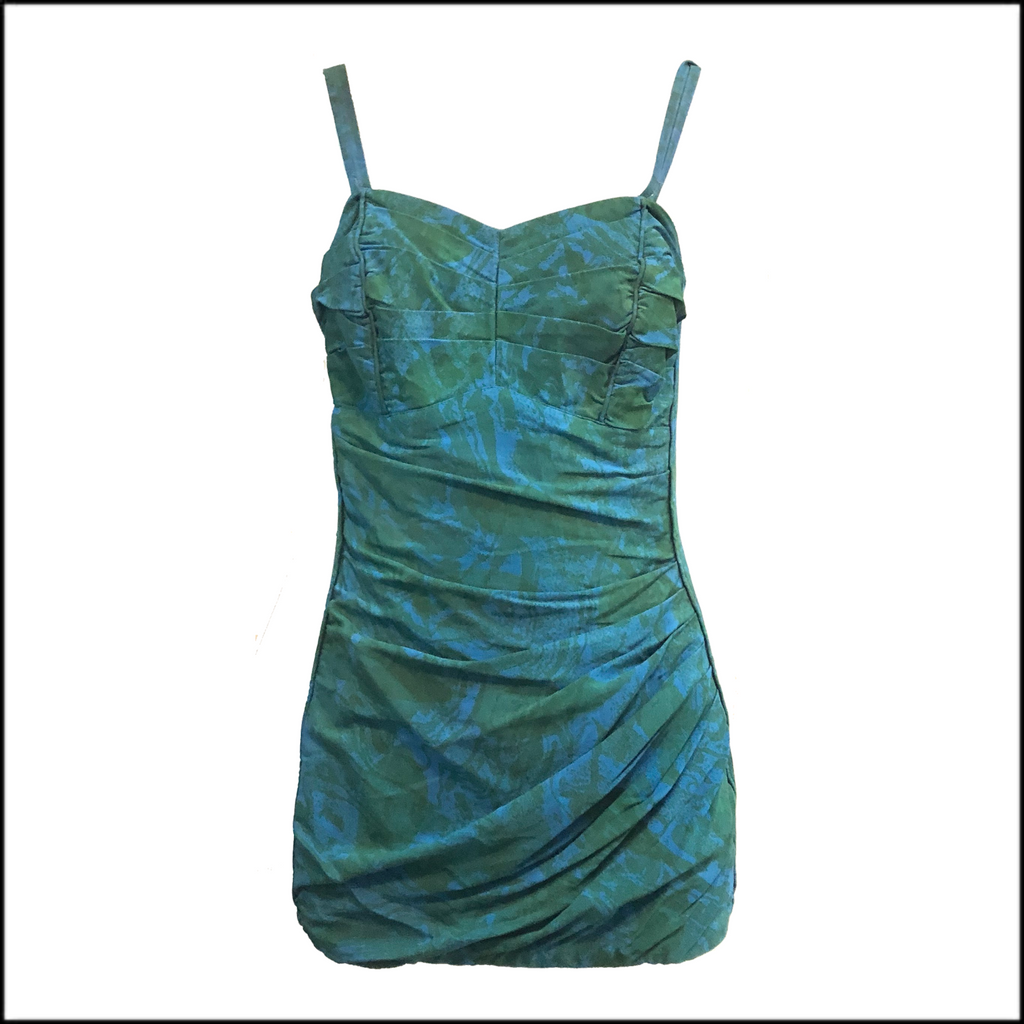 50s Emerald Green and Turquoise One Piece Swimwear FRONT 1 of 4