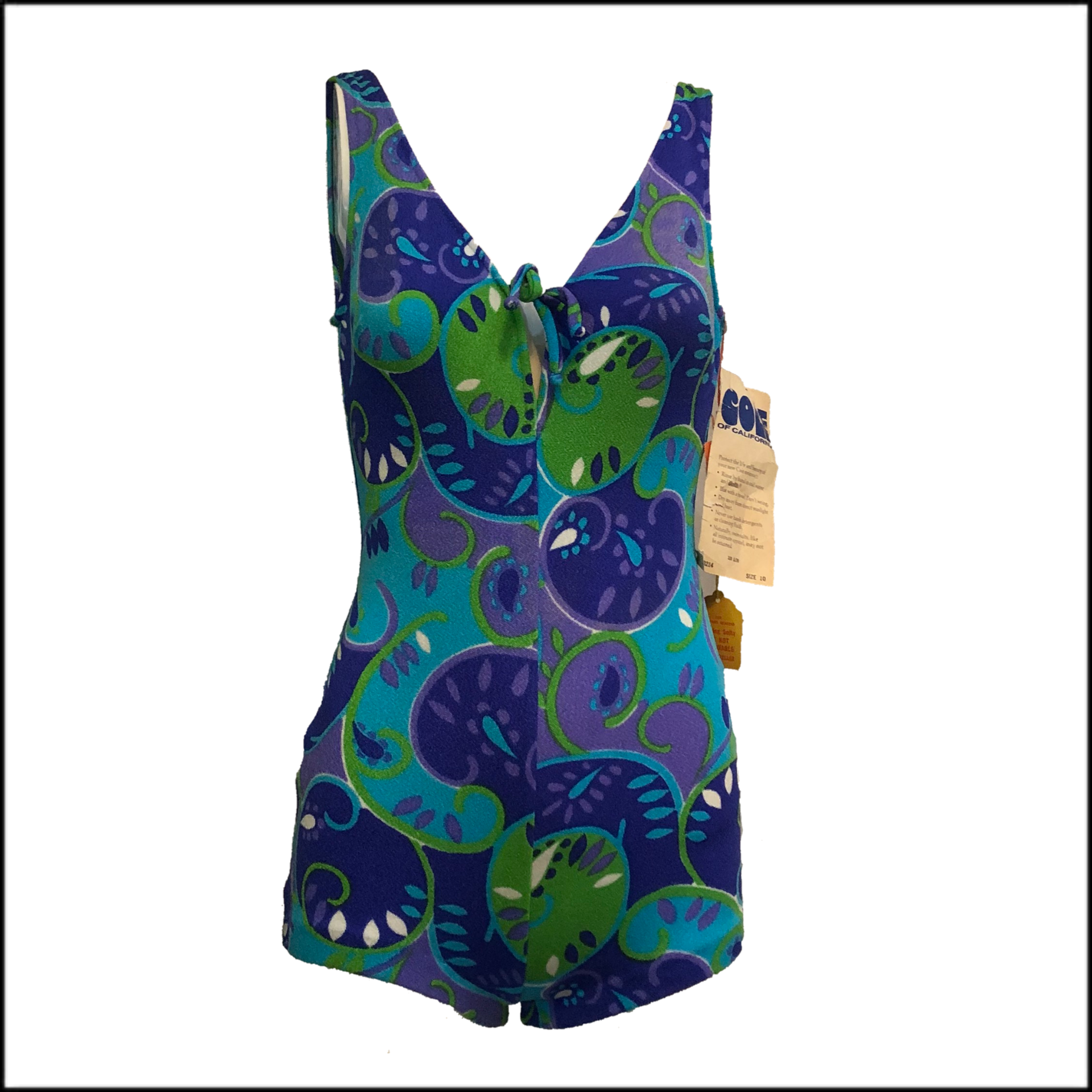 Cole 60s Psychedelic Blue Green One Piece Swimsuit with Tags FRONT 1 of 4