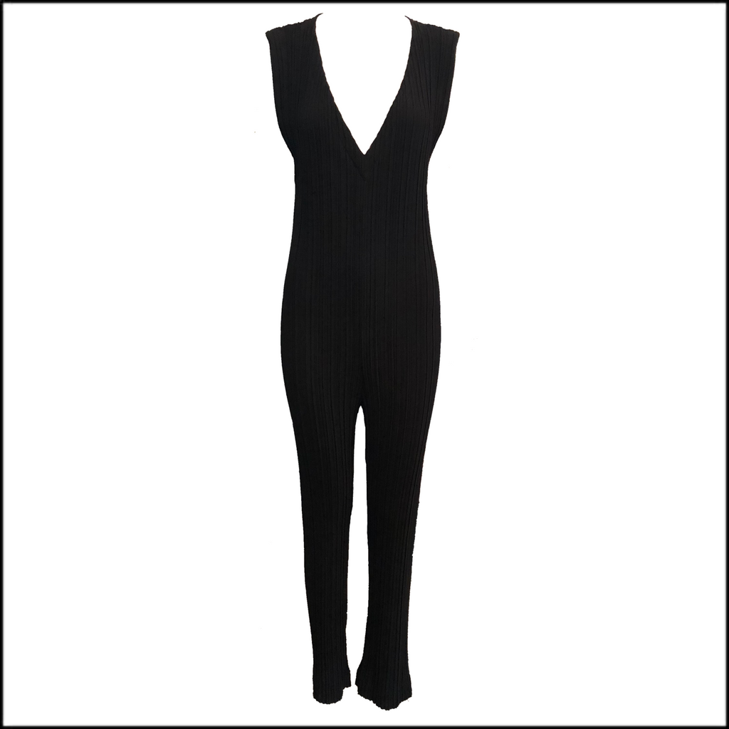 Issey Miyake Black Pleated Catsuit Front 1 of 3