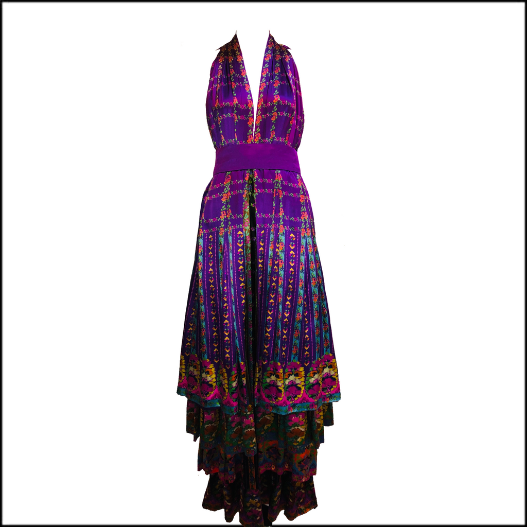Roberta Capucci 70s Magnificent Couture Silk Layered Gown