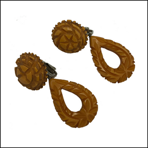 Bakelite 40s Butterscotch Carved Earrings 1 of 4