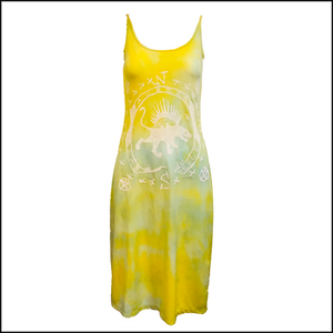 The People of the Labyrinths Yellow Green Tie Dye Jersey Tank Dress FRONT 1 of 4