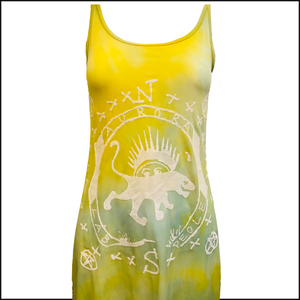 The People of the Labyrinths Yellow Green Tie Dye Jersey Tank Dress DETAIL 3 of 4
