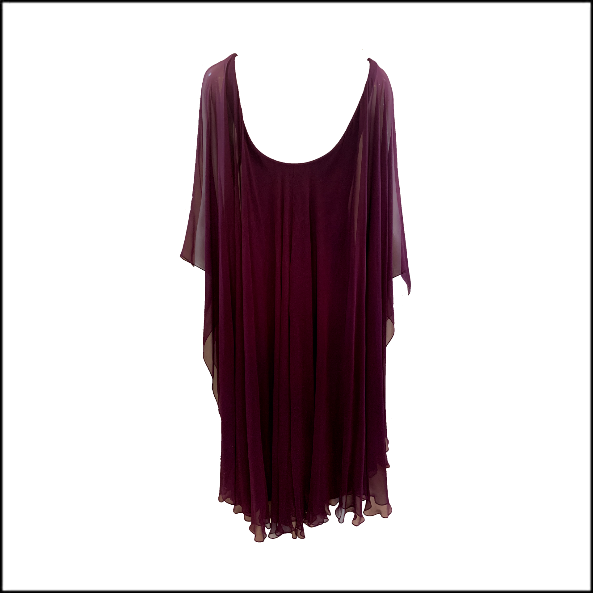 Halston 70s Purple Chiffon and Jersey Studio 54 Dress  BACK 3 of 3