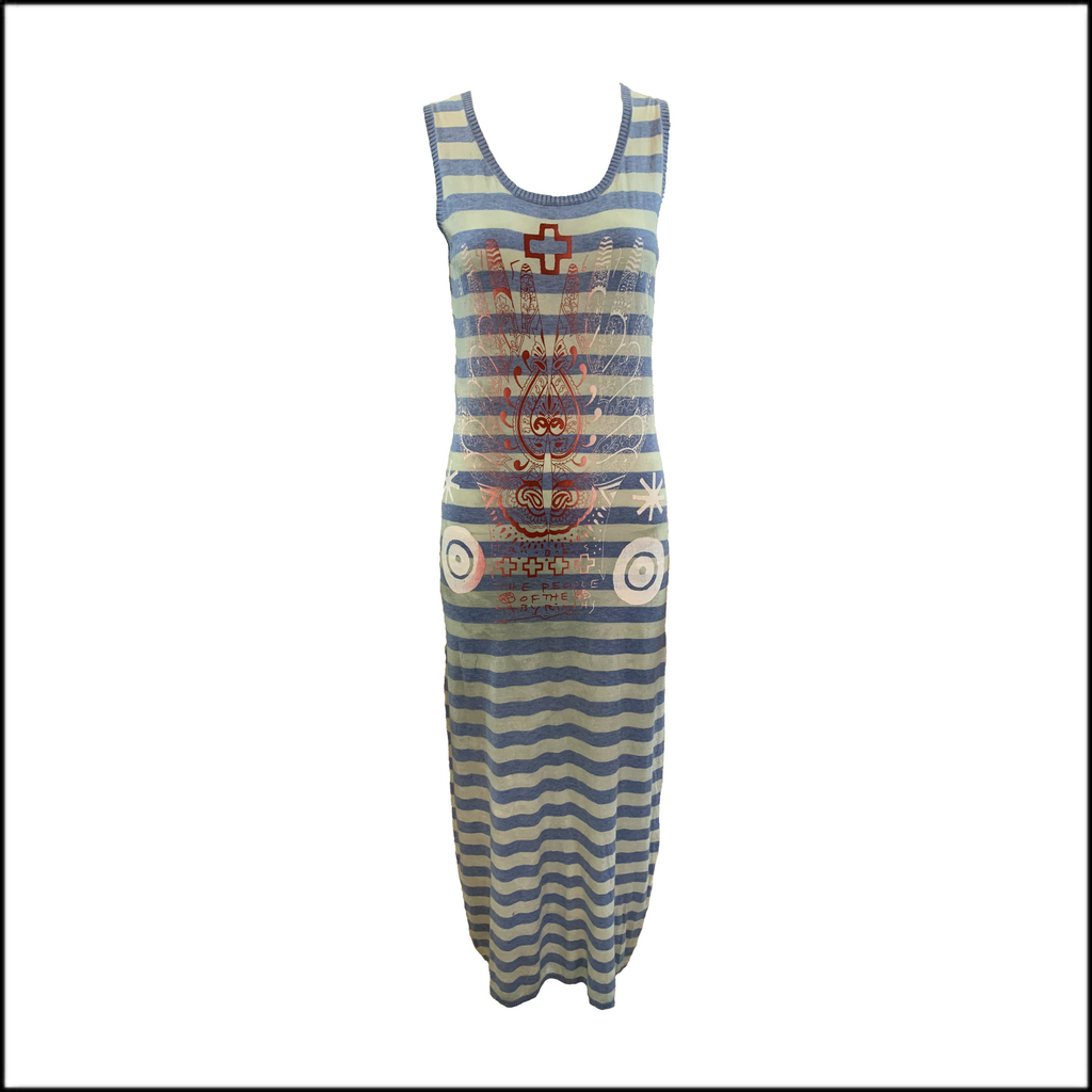 The People of the Labyrinths Blue Striped Maxi Knit Dress FRONT 1 of 4