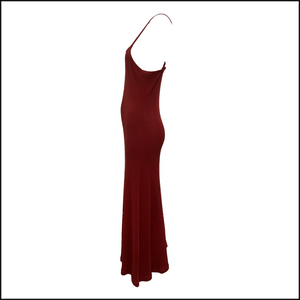 Gaultier 90s Burgundy Full Length Tank Dress SIDE 2 of 4
