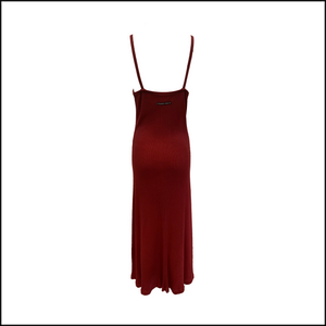 Gaultier 90s Burgundy Full Length Tank Dress BACK 3 of 4