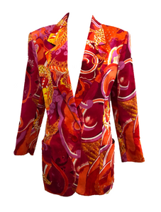 Genny 90s Blazer in Bold Red and Orange Dragon Print FRONT 1 of 6