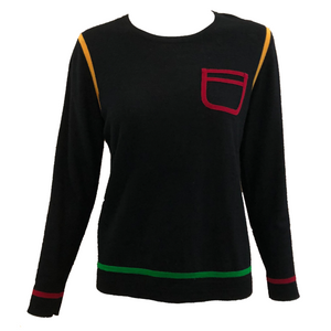 Sonia Rykiel Lightweight Wool Colorblock Sweater FRONT 1 of  4