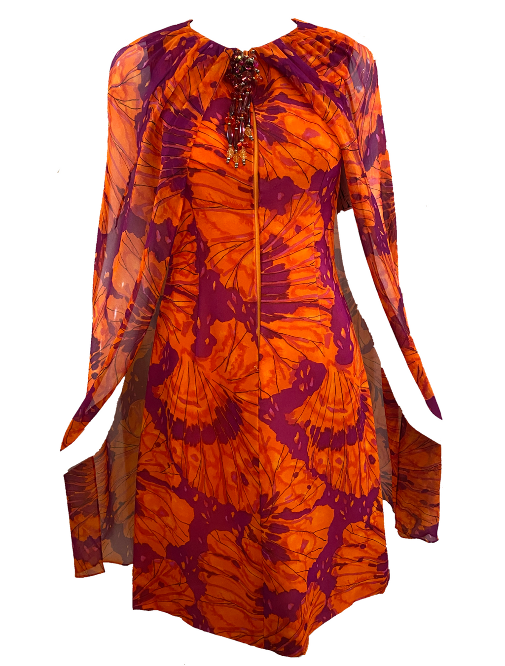 Maurice 60s Dress Purple and Orange Chiffon with Jeweled Ornament FRONT 1 of 5