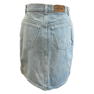 Levi's 80s Faded Denim Pin-striped Mini Skirt BACK 2 of 2