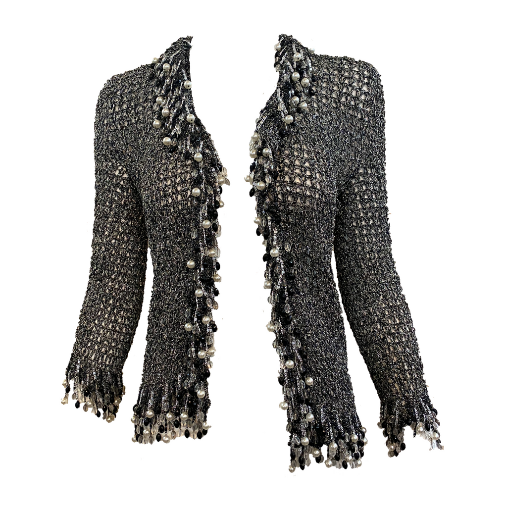 Loris Azzaro Attributed Metallic Crochet Cardigan with Beaded Fringe FRONT 1 of 5