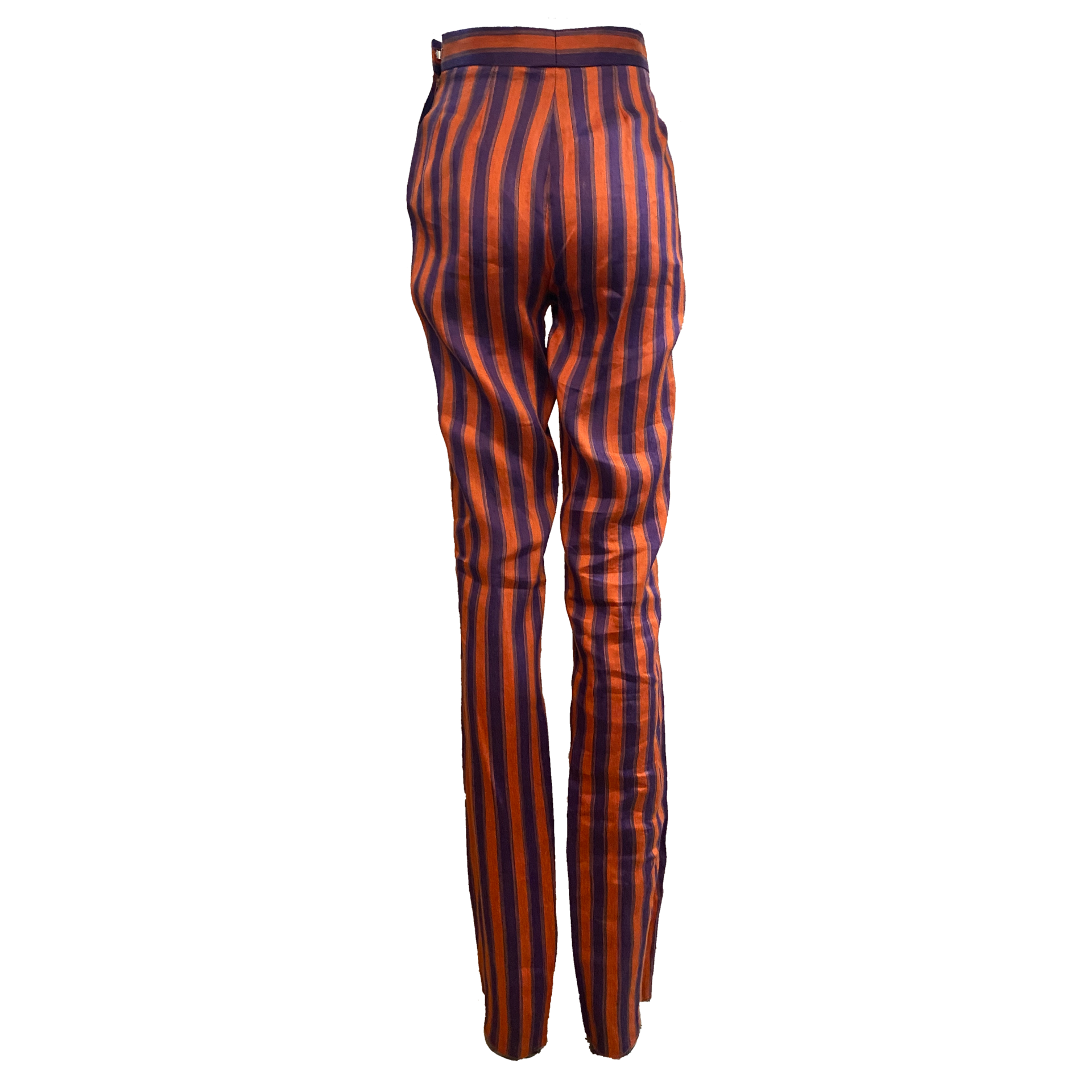 Richard Tyler 90s Striped Extra Long High Waisted Pants BACK 2 of 3