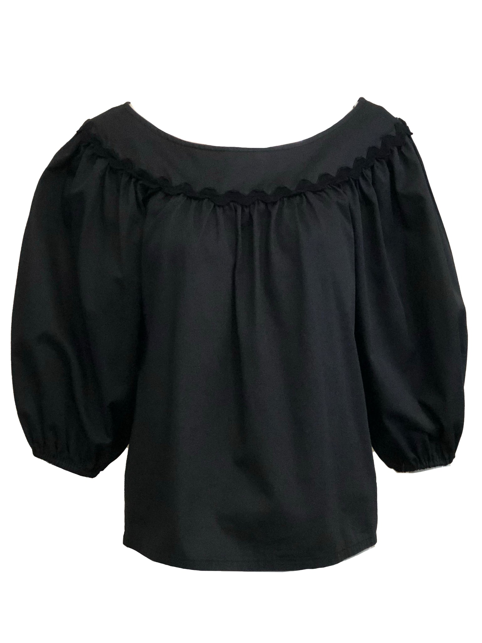 YSL 1970s Peasant Ensemble in Black and White BLOUSE 4 of 6
