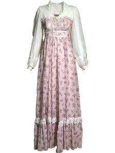 Gunne Sax 70s Pink Floral maxi Dress FRONT 1 of 4