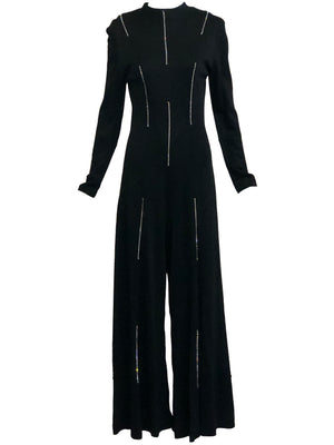 70s Black Polyester Rhinestone Jumpsuit FRONT 1 of 5
