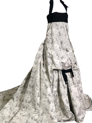 Carolina Herrera Contemporary Dove Grey Brocade Ballgown With Beaded Bandeau Top SIDE 1 of 7