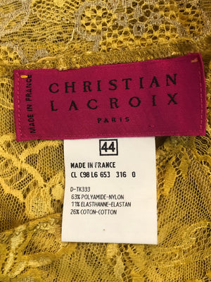 Lacroix Bright Yellow Lace Tee LABEL 4 of 4