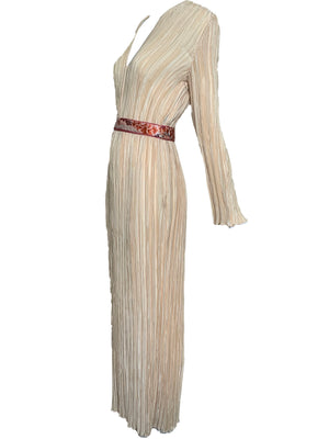 Mary Mcfadden Attribution Gown Peach Pleated Column with Belt SIDE 2 of 5