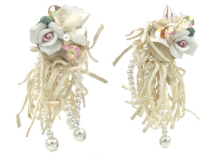 Wendy Gell 80s white Wedding Leather Fringe Earrings