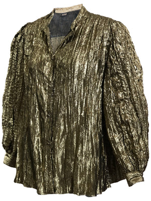 Adri Gold Blouse with Balloon Sleeves  FRONT 2 of 4