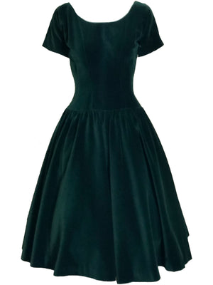 Anne Fogarty 50s Green Velvet Holiday Dress FRONT 1 of 4