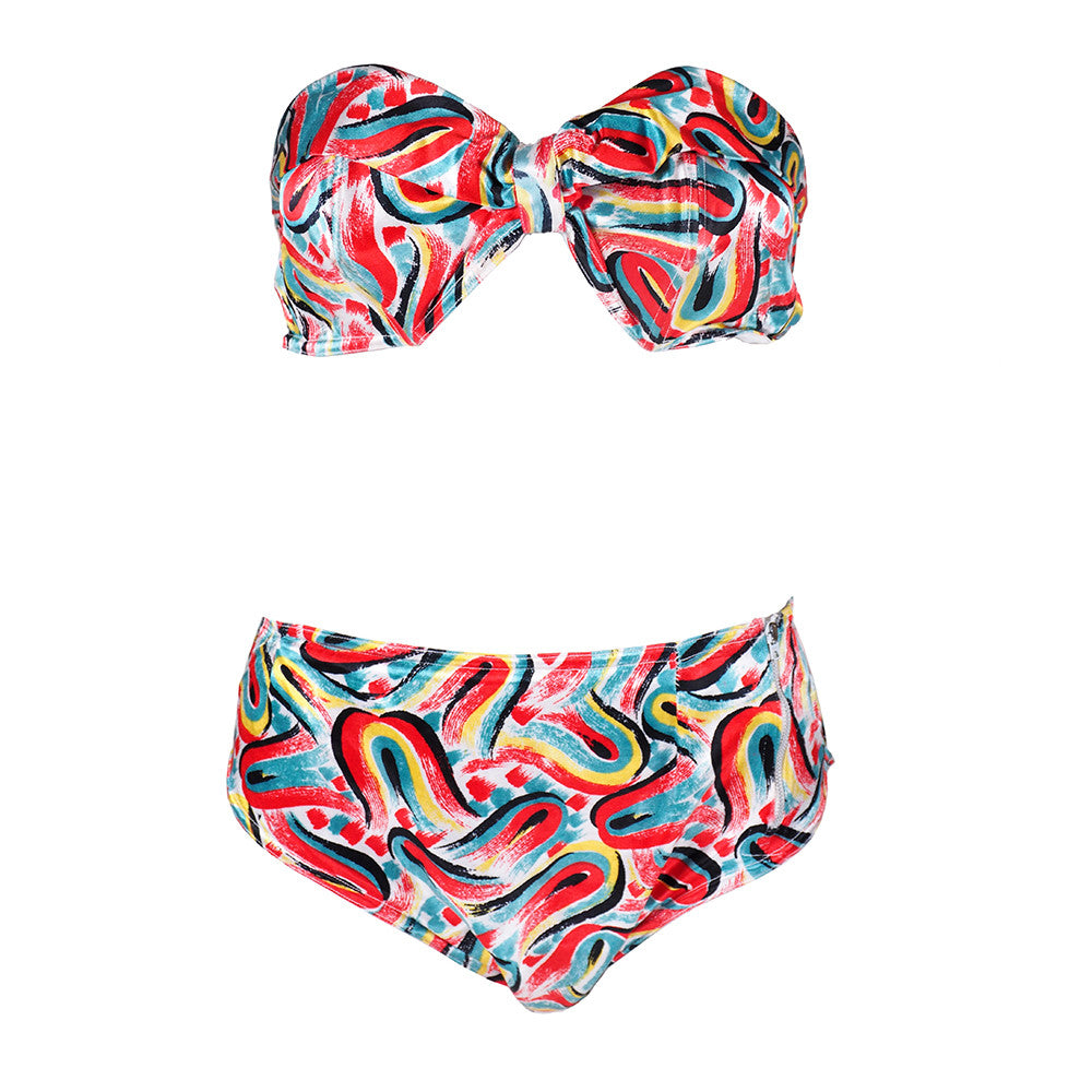 Vintage French 50s Abstract Print Bikini
