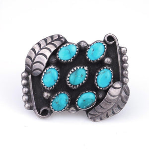 Vintage 50s Turquoise & Sterling Navajo Pebble Ring
