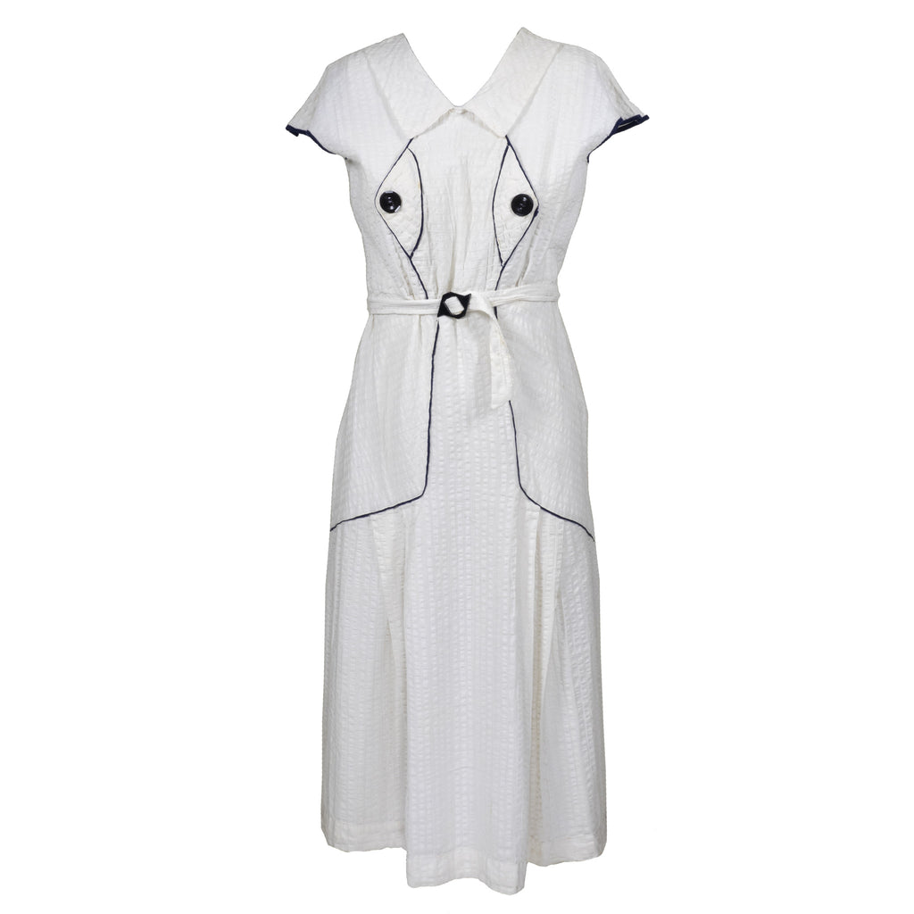 Vintage 30s White Cotton Day Dress w/Piping