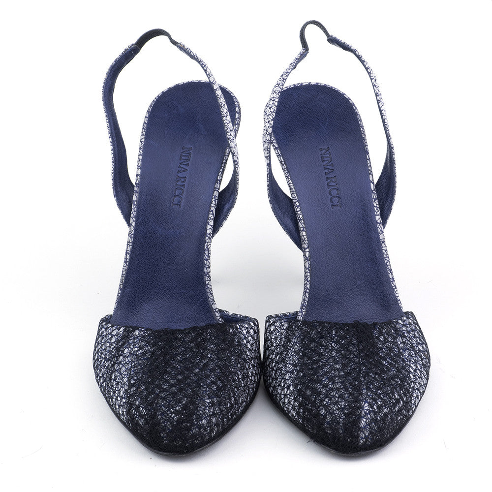 NINA RICCI Blue & Silver Netted Slingbacks, front